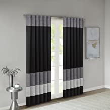 Madison Park Room-Darkening Window Treatment Curtain Solid Thermal Insulated Panel Blackout Drapes for Bedroom Livingroom and Dorm, 50x84, Black