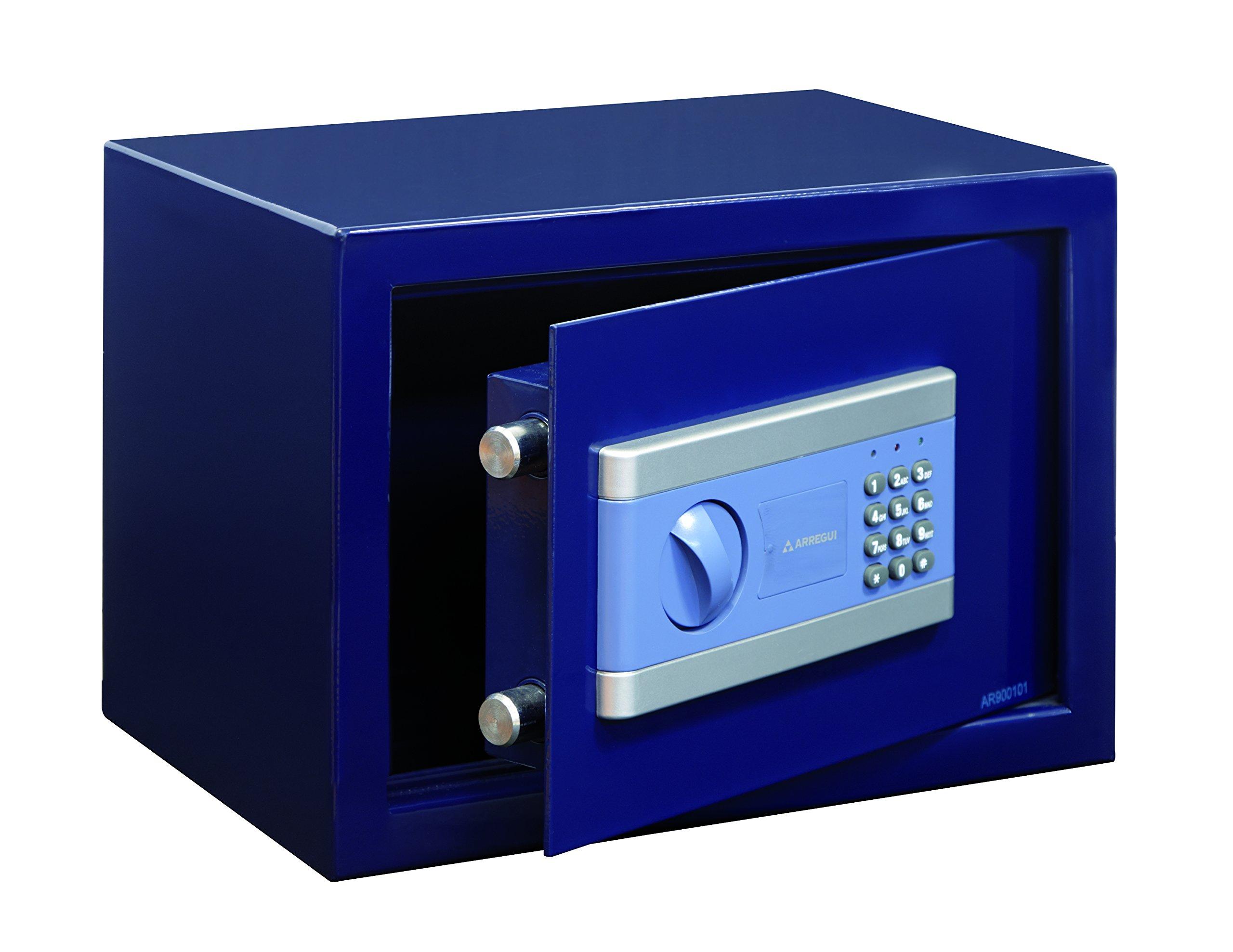 Arregui 19000-S1 - Caja fuerte de sobreponer electrónica, 9L, 310x200x200mm, Azul.: Amazon.es: Bricolaje y herramientas