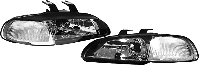 AJP Distributors 1992 1993 1994 1995 92 93 94 95 For Honda Civic Coupe Hatchback 2/3 Door 1 Piece JDM Replacement Assembly Headlights Head Lights Lamps Headlamps (Black Clear)