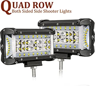 Side Shooters LED Lights, SWATOW 4x4 108W 5 inch Quad Row LED Pods CREE LED Cubes Off Road Spot Flood Combo Work Light Driving Fog Light Bar for Jeep Truck ATV SUV UTV Boat(2 Pack)