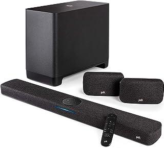 Polk Audio React 5.1 Surround System, Heimkino Soundbar mit Alexa Built in mit kabellosem Subwoofer und Surround Lautsprechern