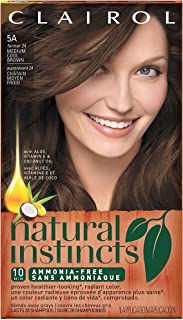 Clairol Natural Instincts Semi-Permanent Hair Color (Pack of 3), 5A/24 Clove Medium Cool Brown Color, Ammonia Free, Lasts for 28 Shampoos
