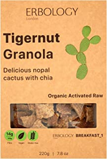 Organic Gluten-free Granola (3 x 7.8 oz Pack) with Tigernut and Nopal - Gut-friendly - Raw - Vegan - Sprouted - Non-GMO