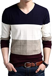 GAGA Men's Long Sleeved Stitching V-Neck Ribbed Button Down Comfy Pullover Sweaters