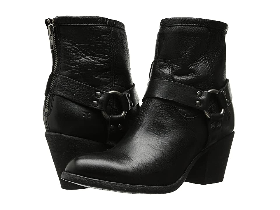 Frye Tabitha Harness Short (Black Soft Vintage Leather) Cowboy Boots