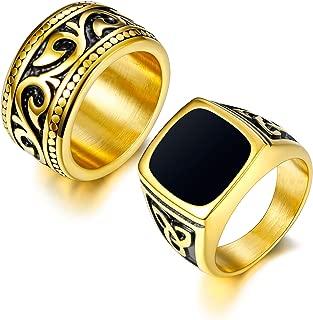 2Pcs 18K Gold Plated Rings for Men Stainless Steel Vintage Biker Signet & Band Ring Set Size 7-13