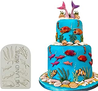 UG LAND INDIA Marine Theme Cake Fondant Mold - Seaweed Fish Seashell Coral Mermaid Tail Silicone Mold for Mermaid Theme Ca...