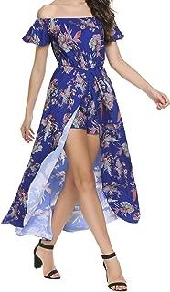 Women's Off Shoulder Boho Split High Low Floral Maxi Romper Dress