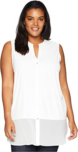 Plus Size Sleeveless Button Up w/ Chiffon