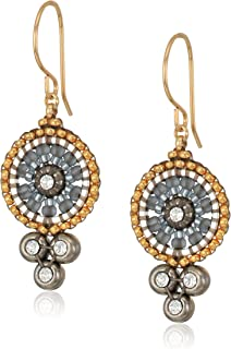 Miguel Ases Triple Swarovski Suspended Circle Drop Earrings