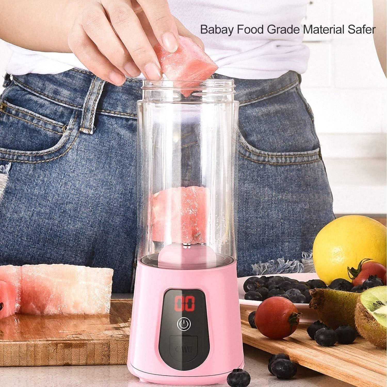 Portable Mixeur avec 6 Lames, USB Rechargeable Smoothie Fabricant jus Tasse, Fruit Mélange Machine, pour Accueil et Bureau Voyage 420ML Pink
