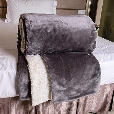 毛布 ブランケット 200cm*230cm 両面のデザイン ふわふわ 両面でも使える 敷くことができ シープボア 洗濯できる グレー