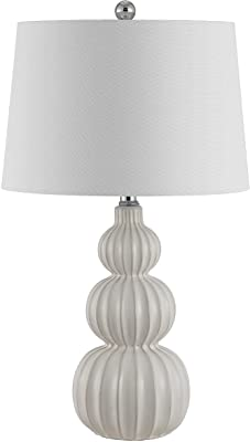 Safavieh Lighting Collection Corina White Triple Gourd Ceramic 26-inch Bedroom Living Room Home Office Desk Nightstand Table Lamp (LED Bulb Included)