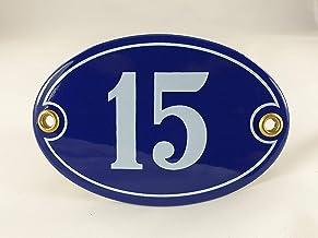 Emaille huisnummerbordje nr. 15, ovaal, blauw-wit Nr. 15 Blau-Weiß + Schrauben und Dübel