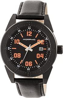 M63 Series Leather-Band Watch w/Date - Black/Black-Orange
