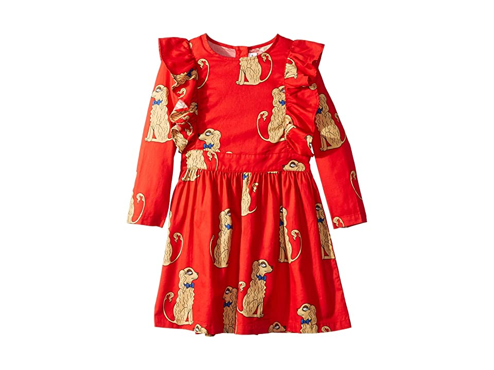 mini rodini Spaniels Woven Ruffled Dress (Infant/Toddler/Little Kids/Big Kids) (Red) Girl
