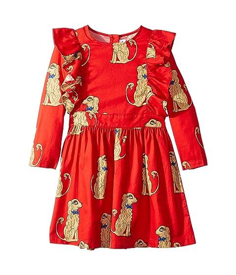 mini rodini Spaniels Woven Ruffled Dress (Infant/Toddler/Little Kids/Big Kids)