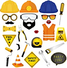 CC HOME Construction Birthday Party Supplies /25 Ct Construction Truck Photo Booth Props/ Traffic Signs Party Decorations ,Dump Truck Party Decorations Kits Set for Kids Boy Construction Theme Baby Shower ,Fathers Day ,Birthday Party Decorations Supplies