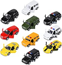 Die-cast Metal Toy Cars Set of 10, Openable Doors, Pull Back Car, Gift Pack for Kids (Private Car & Police car)