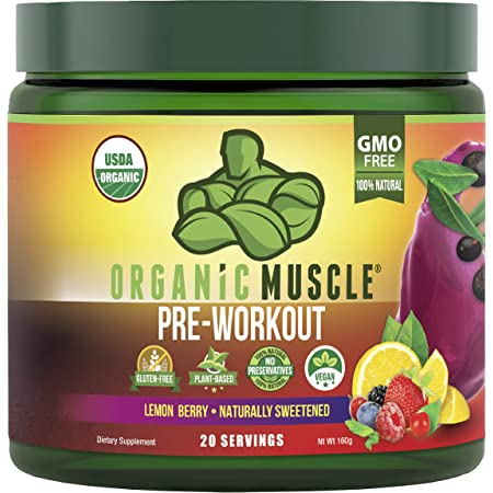 Organic Muscle Pre-Workout Powder - Certified USDA Organic, Keto & Vegan with All Natural Superfood Ingredients for Energy, Focus, Performance & Endurance - Lemon Berry (20 Servings, 5.64 Oz)