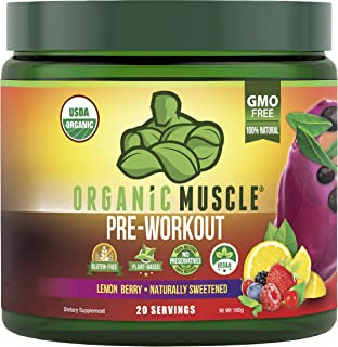 ORGANIC MUSCLE #1 Rated Organic Pre Workout Powder-Natural Vegan Keto Pre-Workout & Organic Energy Supplement for Men & Wo...