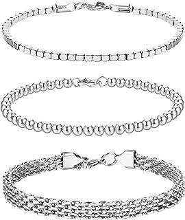 CASSIECA Juego de 3 pulseras de cadena de acero inoxidable para mujeres y hombres, cuentas cubanas, pulseras de cadena de ...