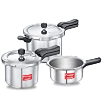 [LD] Prestige Svachh Aluminium 2+3+5 Litre Combo cooker with Induction Base
