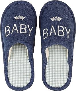 DRUNKEN Kids Canvas Slide Indoor House Slippers Baby Blue