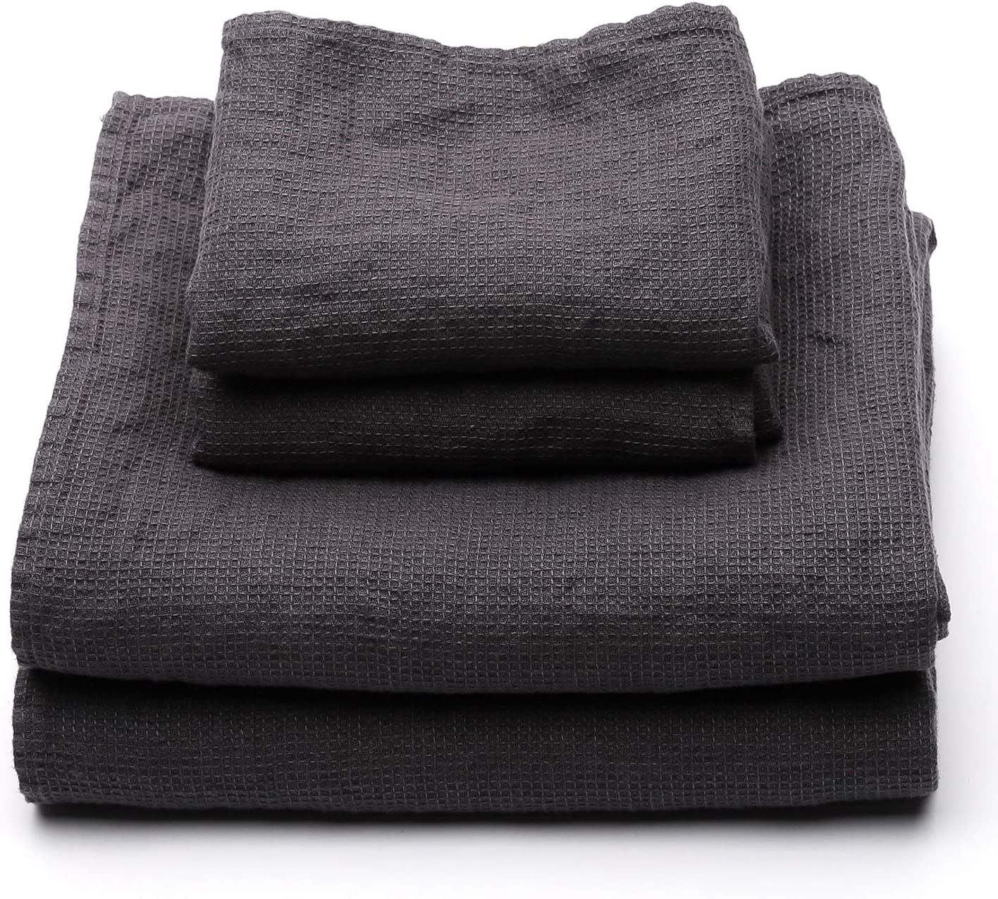LinenMe Set Waffle Grey Washed 2 low-pricing Made Towels Big Eur Weekly update Hand in