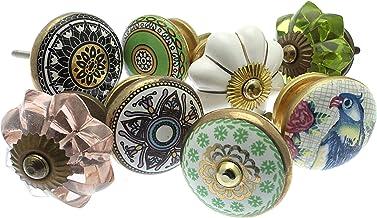 Meubelknop set x 8, meubelknop, meubelknoppen, meubelgreep, vintage keramiek porselein set (MG-212-A)