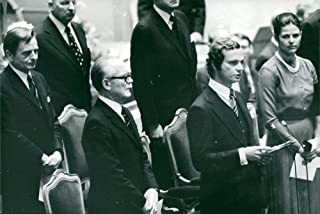 Vintage photo of Olof Palme, President Henry Allard, King Carl XVI Gustaf and Queen Silvia at the opening of the Riksdag