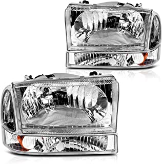 For 2000-2004 Ford Excursion / 1999-2004 Ford F250 F350 F450 F550 Super Duty Headlight Assembly Chrome Housing Clear Lens w/ Signal Lamps (Driver and Passenger Side)