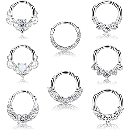 AVYRING 16G Daith Rook Earrings Stainless Steel with Crystal Ball Cartilage Helix Piercing Rings Jewelry