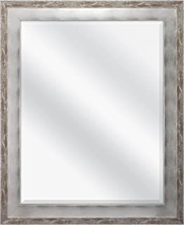 MCS 22x28 Inch Wall Mirror, 28x34 Inch Overall Size, Brushed Silver