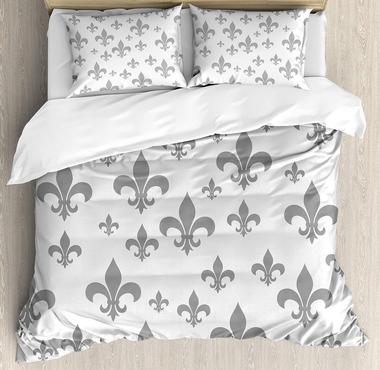 USOPHIA Fleur De Lis 4 Pieces Bed Sheets Set Twin Size, Ethnic Lily Pattern Classic Retro Royal Vintage European Iris Ornamental Artwork Floral Duvet Cover Set, Grey