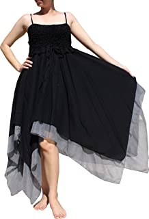 Silky Cotton Pixie Dress with Frill Front and Sharp Uneven Bottom Hem
