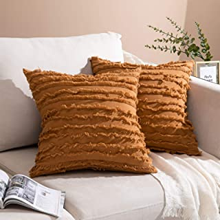 Noledar Boho أغطية وسائد رمي 20 × 20 مجموعة من 2، أغطية وسائد من القطن الكتان للأريكة السرير السيارة 50 × 50 سم، برتقالي