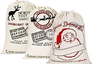 "HBlife Personalized Santa Sack 19.7""x 27.6"" Gift Bag for Christmas Cotton Santa Bag with Drawstring Xmas Gift Bag - 3pcs"