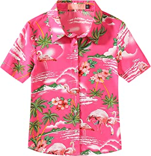 SSLR Big Girl's Flamingos Casual Button Down Short Sleeve Hawaiian Shirt