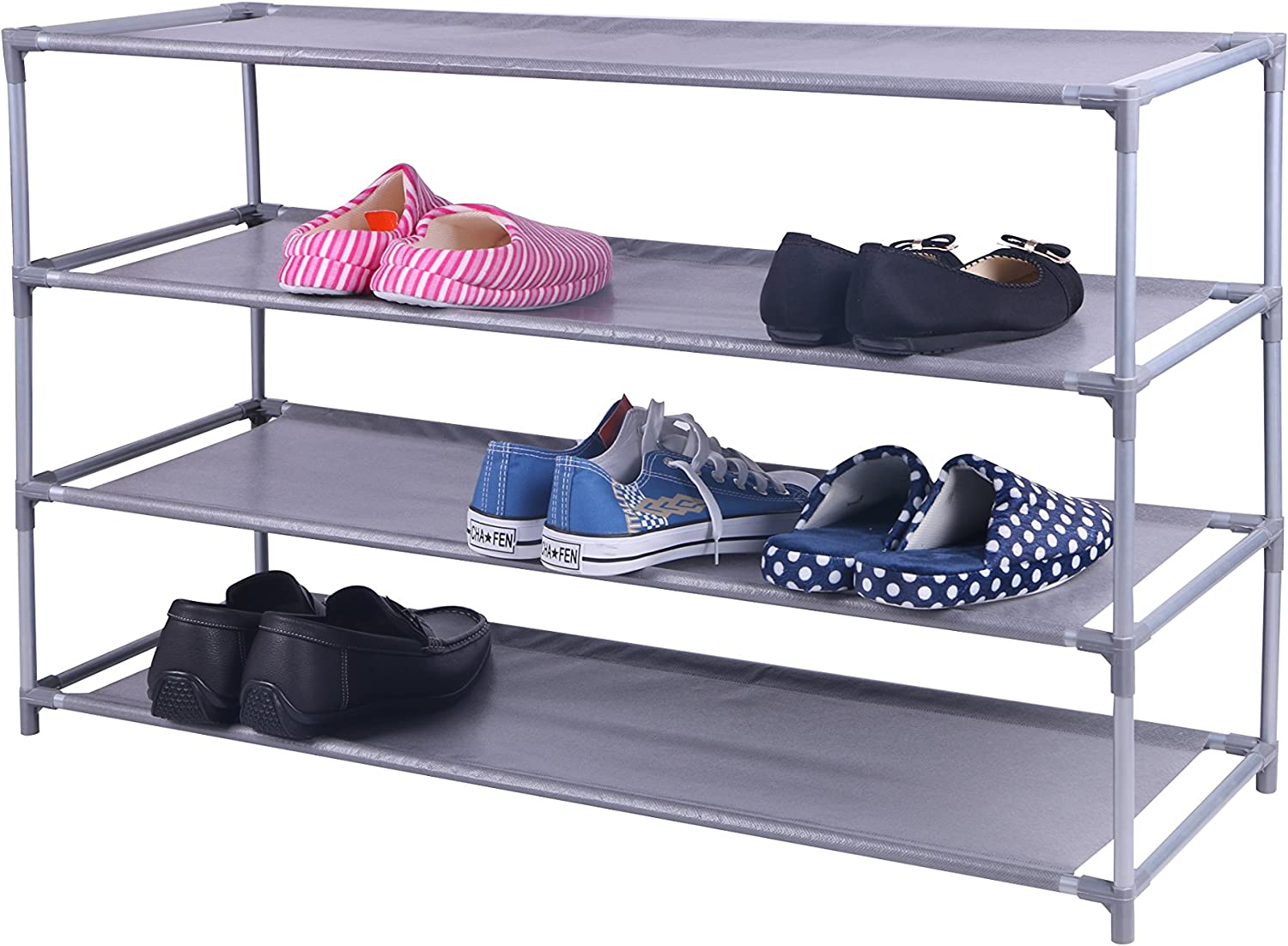 Home Baltimore Mall Basics 20 Pair Non-Woven Wide Shoe Max 62% OFF Rack 4-Tier