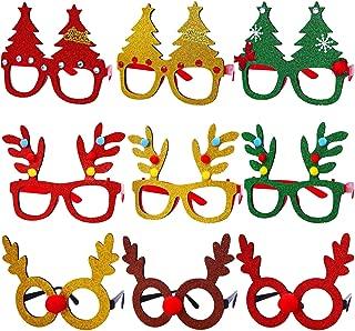 Aneco 9 Pack Christmas Costume Glasses Frame Christmas Tree Glasses Reindeer Antlers Eyeglasses for Christmas Favors or Holiday Decoration