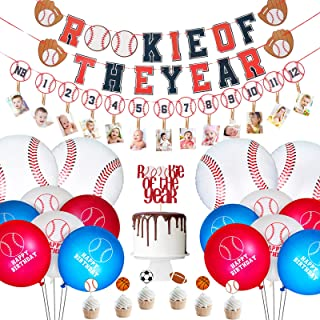 25 Pieces Baseball Birthday Party Supplies Include Rookie of The Year Banner and Cupcake Topper First Year Photo Banner Ba...