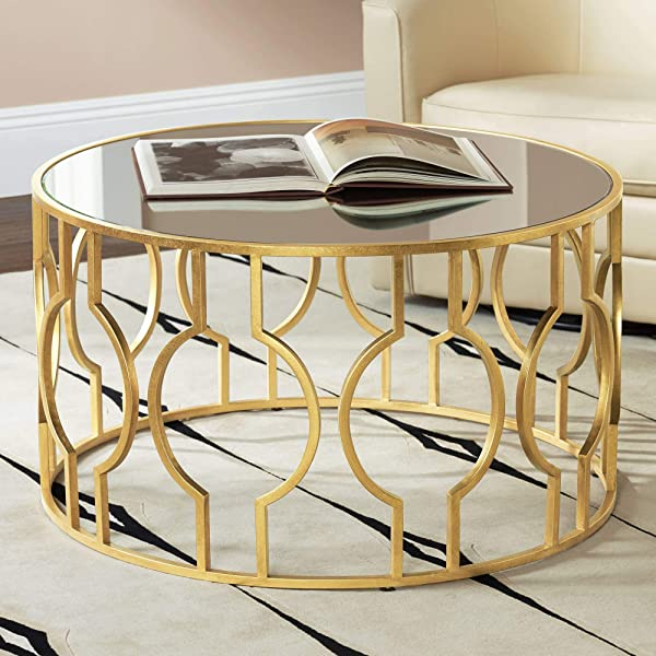 Fara 35 1 2 Wide Gold Leaf Round Coffee Table 55 Downing Street