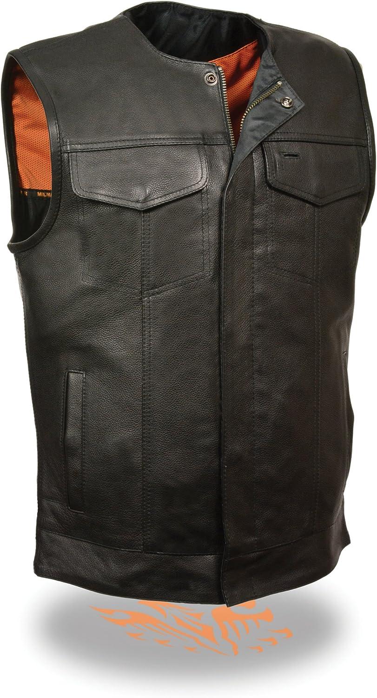 MEN'S MOTORCYCLE SON OF ANARCHY STYLE LEATHER VEST W/GUN POCKETS ZIPPER BLACK (5XL)