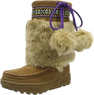BEARPAW Girl's Hope Suede/Faux Fur Mid-Calf Suede Boot