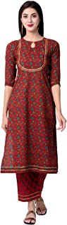 Gulmohar Jaipur Women's Straight Cotton Printed Kurta Palazzo Set (Red)