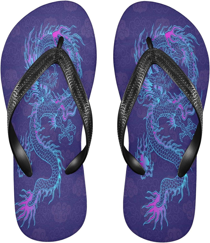 Nander Purple Chinese Dragon Women's Sandal Flip Flops Soft Comfortable Beach Slippers Unisex Adult Durable Flip Flops Shower Shoes