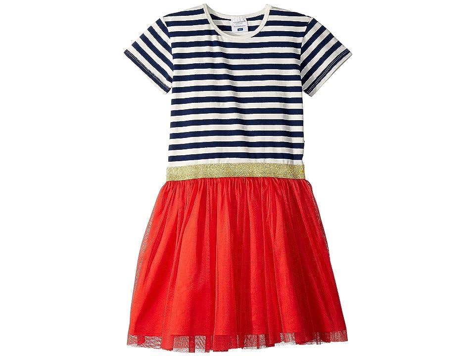 Toobydoo Tulle Party Dress (Toddler/Little Kids/Big Kids) (Navy Stripe 1) Girl