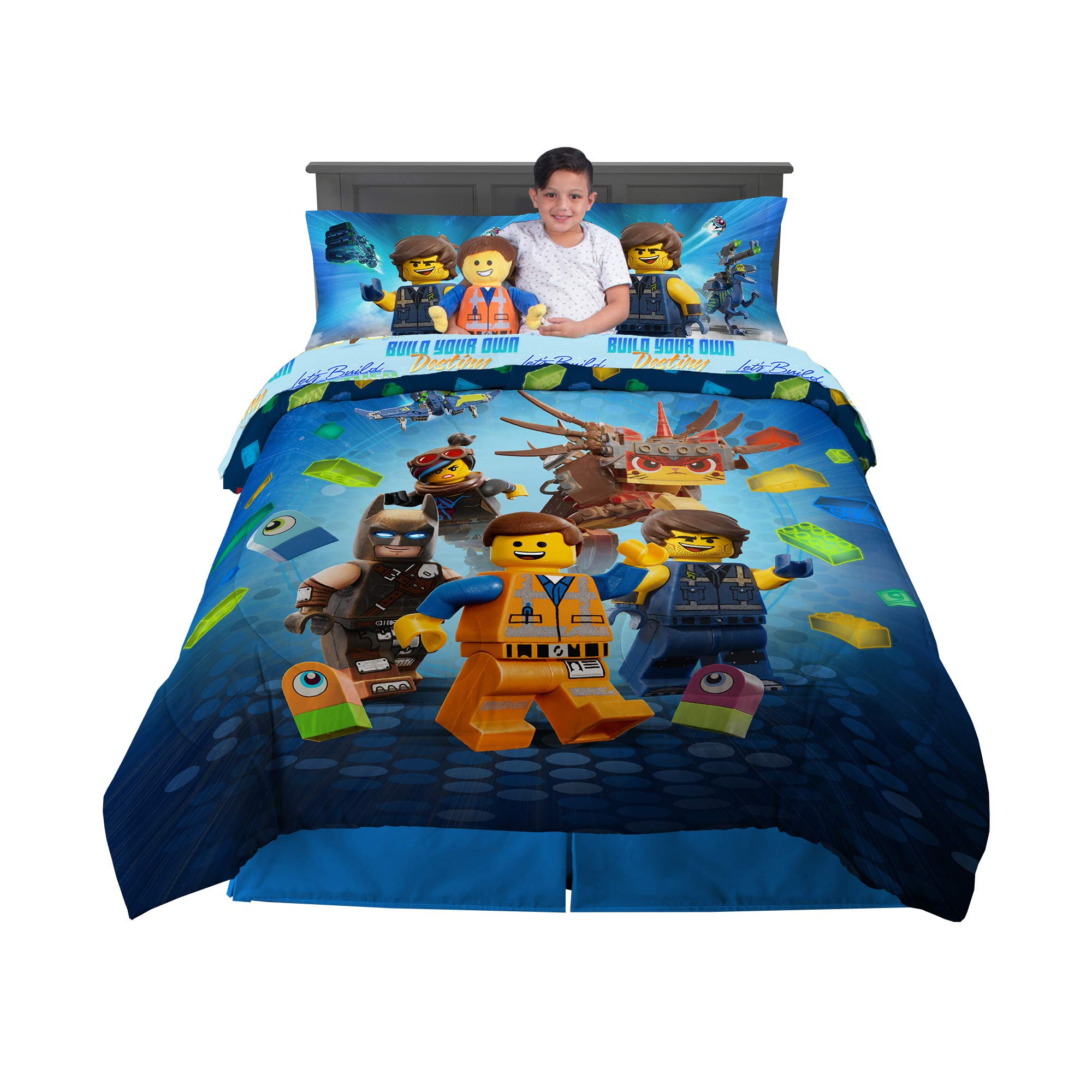 Amazon Com Franco Kids Bedding Super Soft Comforter With Sheets And Cuddle Pillow Bedroom Set 6 Piece Full Size Lego Movie 2 Home Kitchen