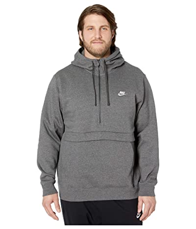 Nike Big Tall NSW Club Hoodie 1/2 Zip (Charcoal Heather/Charcoal Heather/White) Men